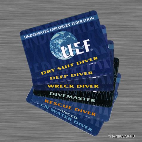 búvár igazolvány, UEF kártyák